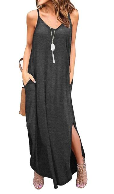 Casual Summer Loose Beach Dress dress Dark Grey L