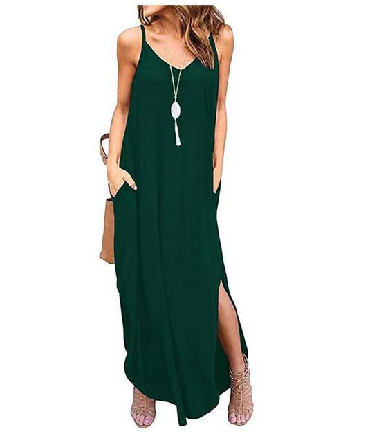 Casual Summer Loose Beach Dress dress Green XL
