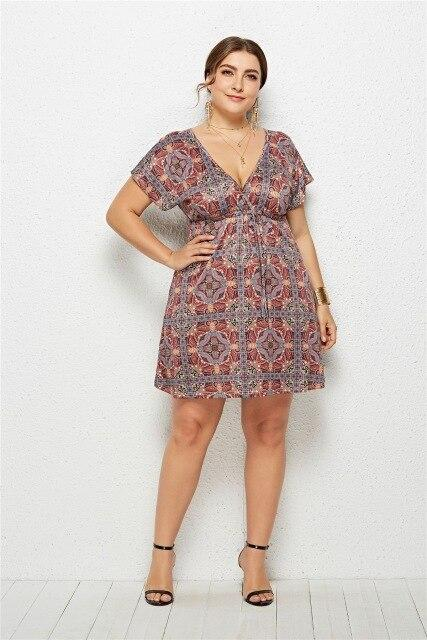 Casual Summer V Neck Short Sleeve Floral Mini Dress dress 5 4XL