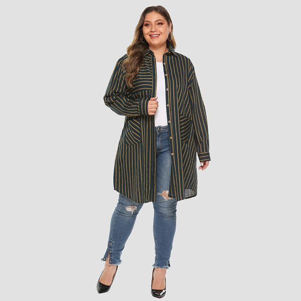 Casual Trench Coat Long Sleeve Striped Coats