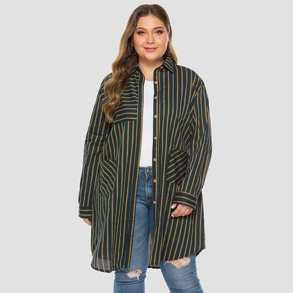 Casual Trench Coat Long Sleeve Striped Coats green L
