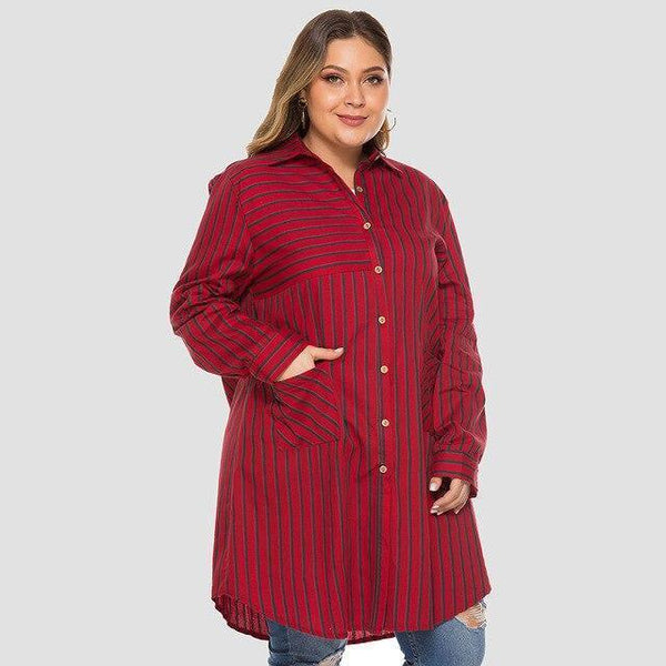 Casual Trench Coat Long Sleeve Striped Coats Red XXL