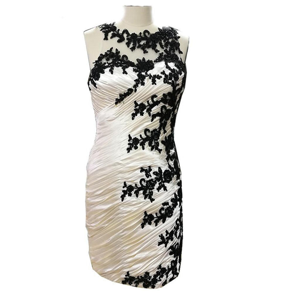 Champagne Black Lace Mother of the Bride Pleated Formal Dress Dress