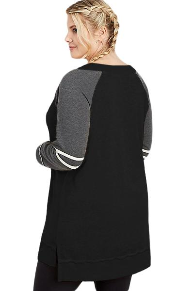 Charcoal Plus Size Long Sleeve Football Tunic Tops