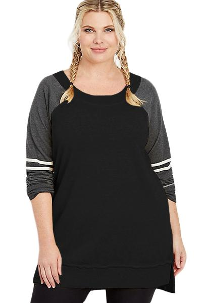 Charcoal Plus Size Long Sleeve Football Tunic Tops Black 1X