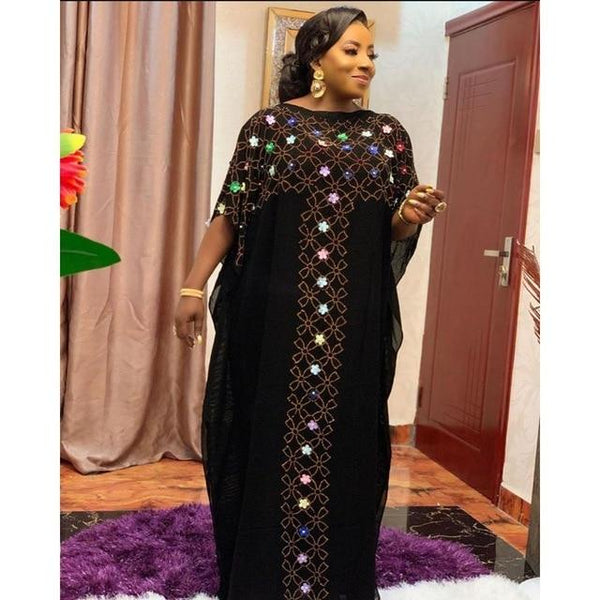 Chiffon Long Stick Diamond Sequin African Dress dress ZH1 One Size
