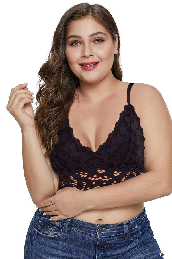 Chunky Lace Plus Size Bralette Bras Black Large