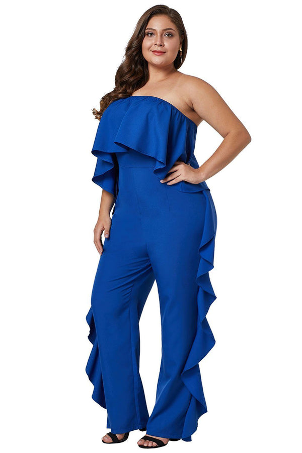 Cobalt Blue Prime Dreams Plus Size Strapless Ruffle Jumpsuit Rompers