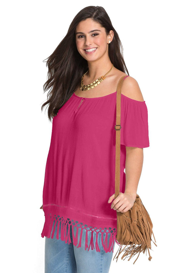 Cold Shoulder Plus Size Blouse Tops Rose 1X