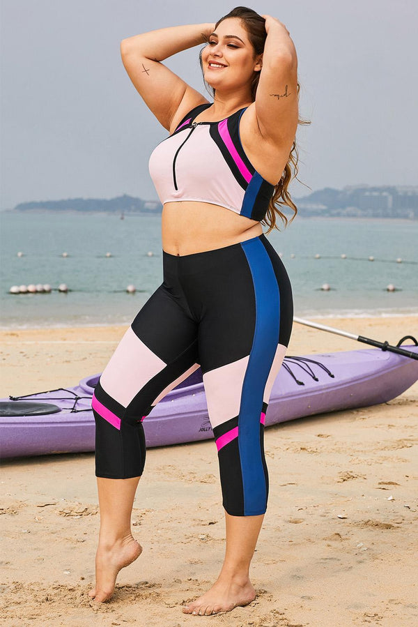 Color Block Patchwork Plus Size Surfing Rash Guard Swimwear