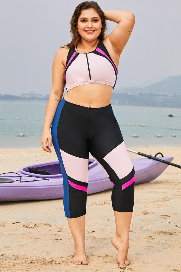 Color Block Patchwork Plus Size Surfing Rash Guard Swimwear Pink 0X