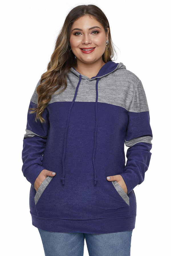 Color Block Pullover Plus Size Hoodie with Pocket Tops
