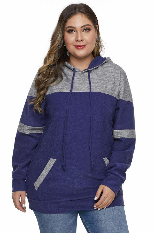 Color Block Pullover Plus Size Hoodie with Pocket Tops Blue 1X