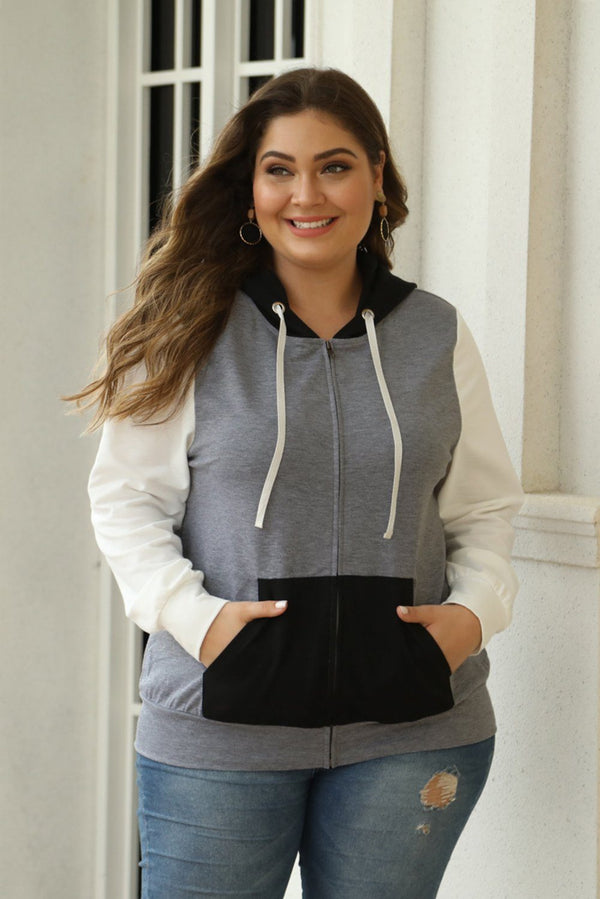 Colorblock Hooded Zip Plus Size Jacket Tops