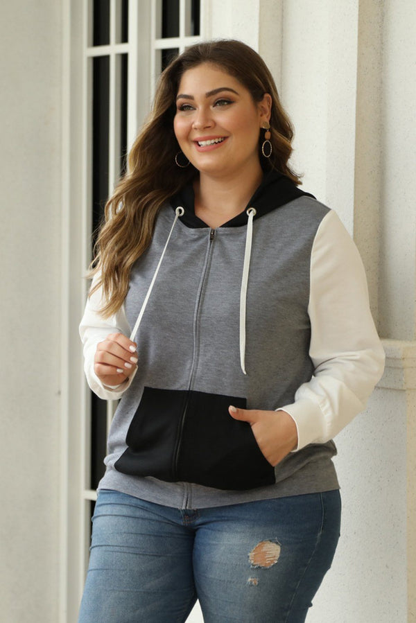 Colorblock Hooded Zip Plus Size Jacket Tops Black 1X