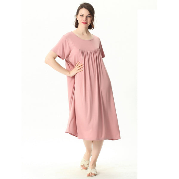 Comfortable Short Sleeve Home Loose Solid Nightgown sleepwear