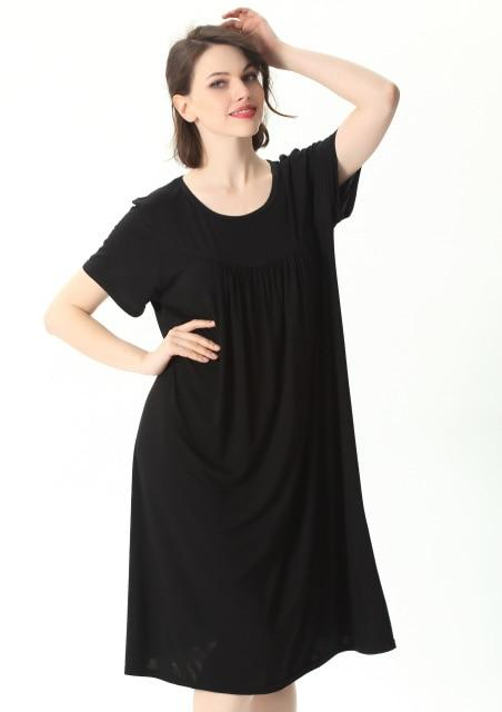 Comfortable Short Sleeve Home Loose Solid Nightgown sleepwear black 4XL