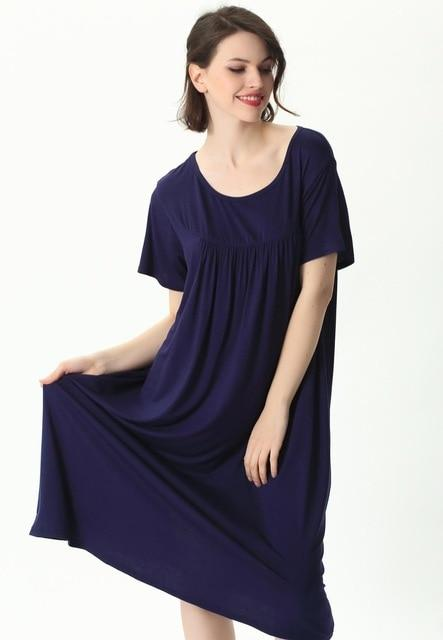 Comfortable Short Sleeve Home Loose Solid Nightgown sleepwear navyblue XXL