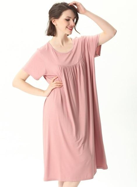 Comfortable Short Sleeve Home Loose Solid Nightgown sleepwear pink 6XL