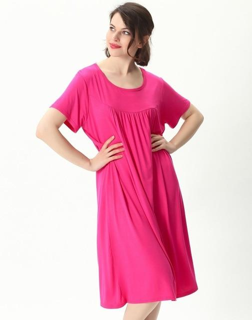 Comfortable Short Sleeve Home Loose Solid Nightgown sleepwear rose red XXL