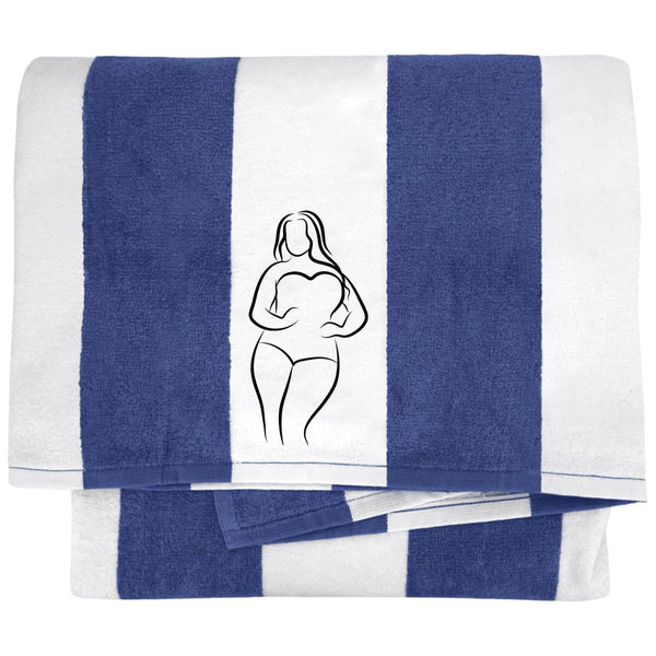 Curvy Woman Embroidered Cabana Stripe Beach Towel