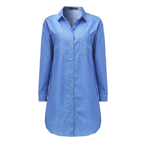Denim Casual Long Sleeve Mini Dress dress