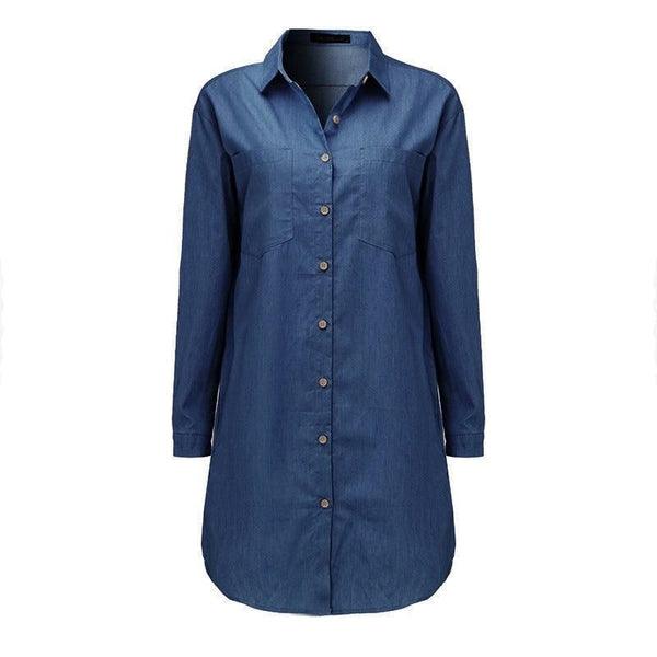 Denim Casual Long Sleeve Mini Dress dress Denim Blue S Warehouse