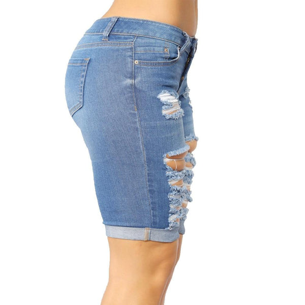 Denim Ripped Knee Length Jean Shorts Summer 2020 shorts