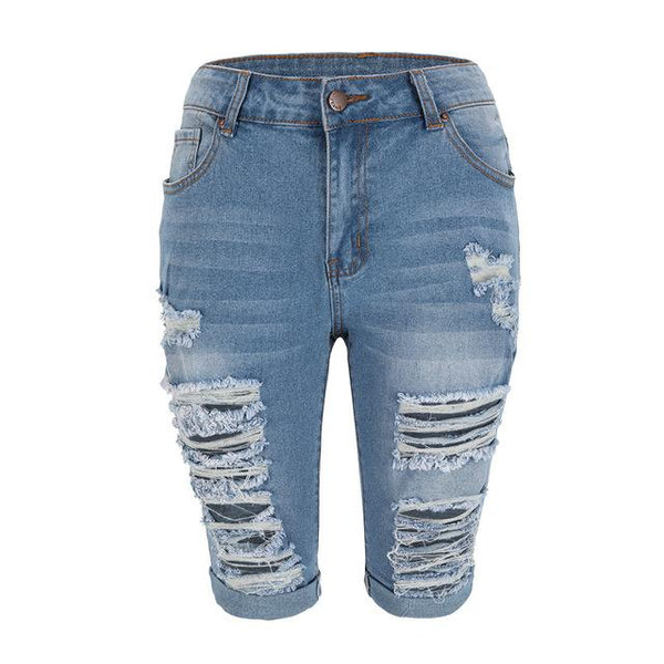 Denim Ripped Knee Length Jean Shorts Summer 2020 shorts Blue S