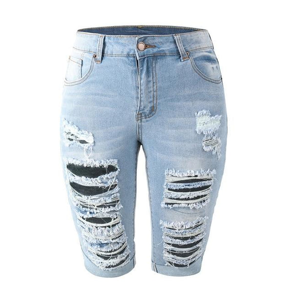 Denim Ripped Knee Length Jean Shorts Summer 2020 shorts Sky Blue XXL