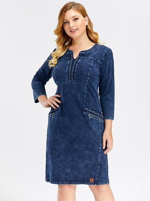 Denim Slim Fit Casual Dress dress Navy Blue 54