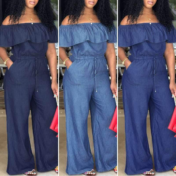 Denim Wide Leg Pants Sexy Off Shoulder Playsuits Playsuit