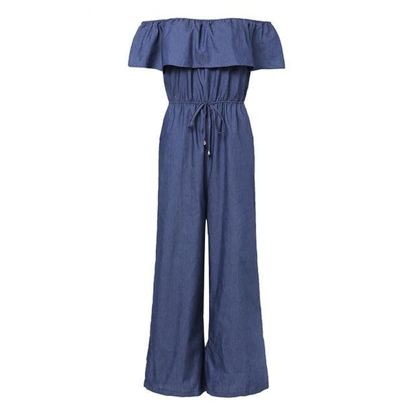 Denim Wide Leg Pants Sexy Off Shoulder Playsuits Playsuit Blue M