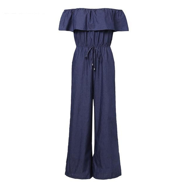 Denim Wide Leg Pants Sexy Off Shoulder Playsuits Playsuit Dark Blue XL