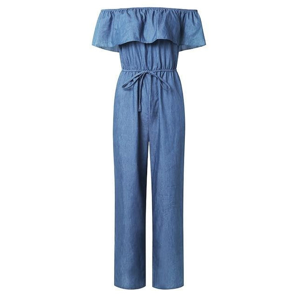 Denim Wide Leg Pants Sexy Off Shoulder Playsuits Playsuit Light Blue L