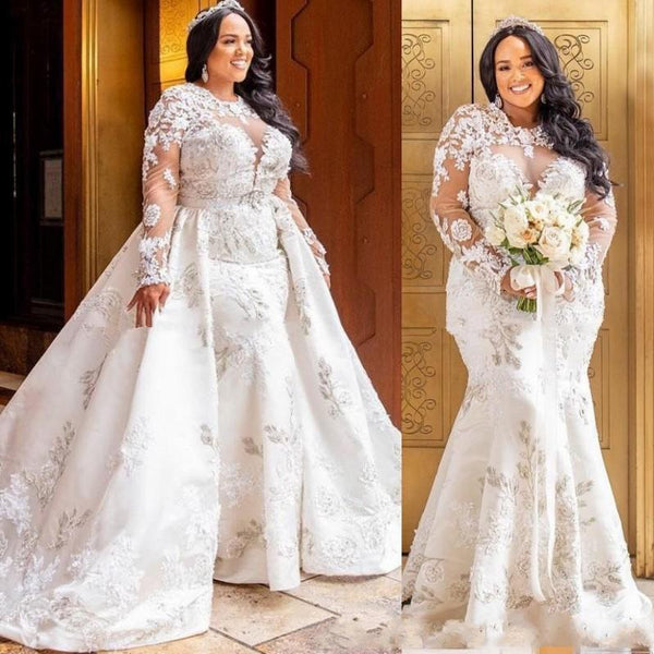 Detachable Lace Long Sleeve Mermaid African Wedding Dress wedding