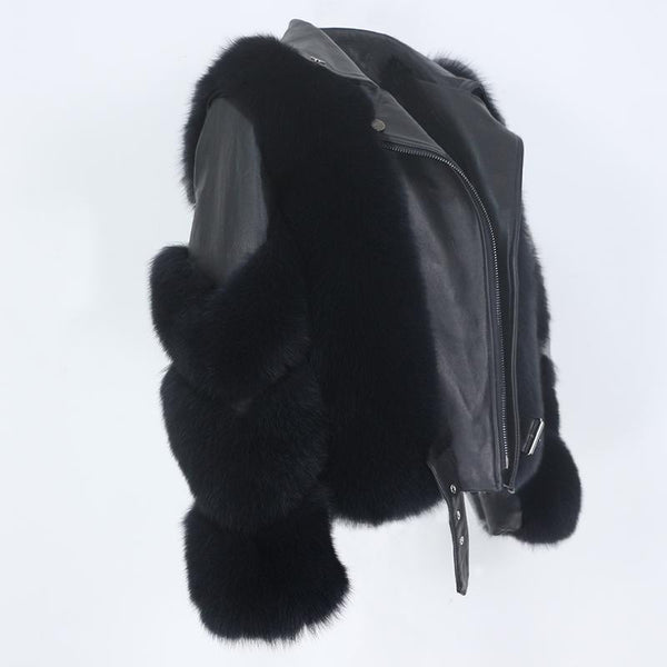 Detachable Sleeves Real Fur & Leather Black Jacket Coats & Jackets