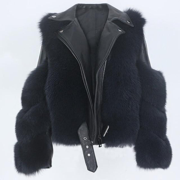 Detachable Sleeves Real Fur & Leather Black Jacket Coats & Jackets black coat L bust 100cm