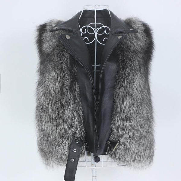 Detachable Sleeves Real Fur & Leather Grey Vest Jacket Coats & Jackets