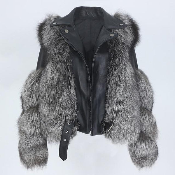 Detachable Sleeves Real Fur & Leather Grey Vest Jacket Coats & Jackets silver coat 6XL bust 124cm