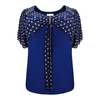 Diamond Bow Neck Batwing Sleeve Shirt Black, Blue, Red
