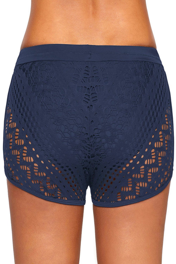 Drawstring Lace Panel Plus Size Swim Shorts Swimwear