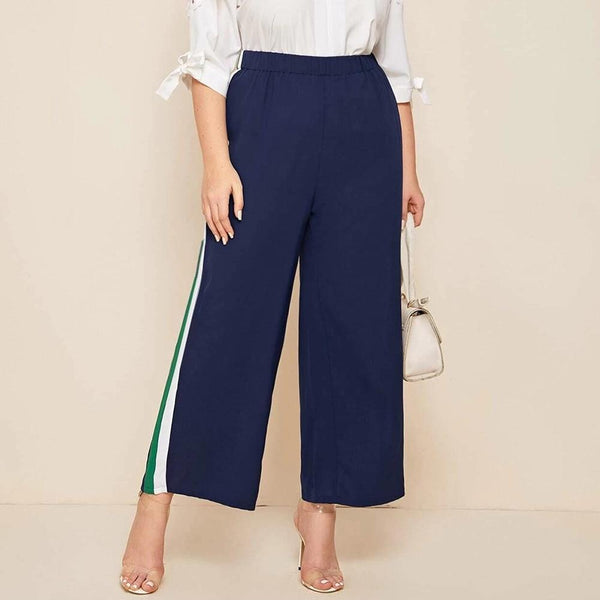 Elastic High Waist Side Striped Patchwork Long Loose Pants pants