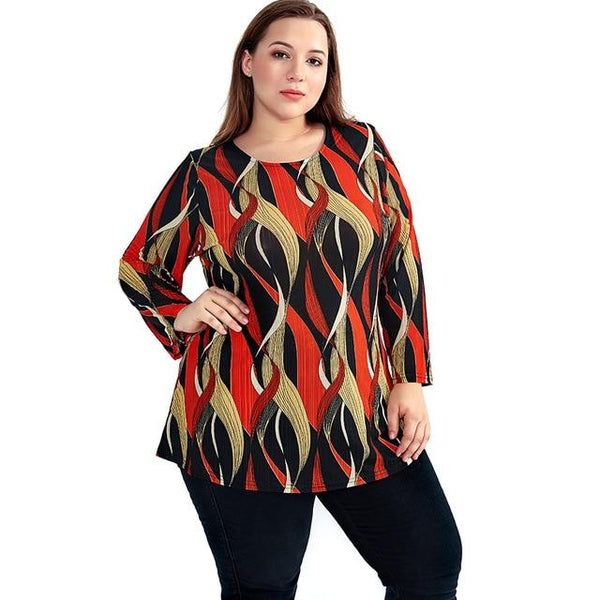 Elegant Bohemian O Neck Top Tops Orange XXXL