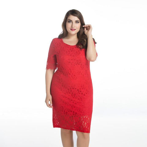 Elegant Casual Women's Lace Dresses dress Red M