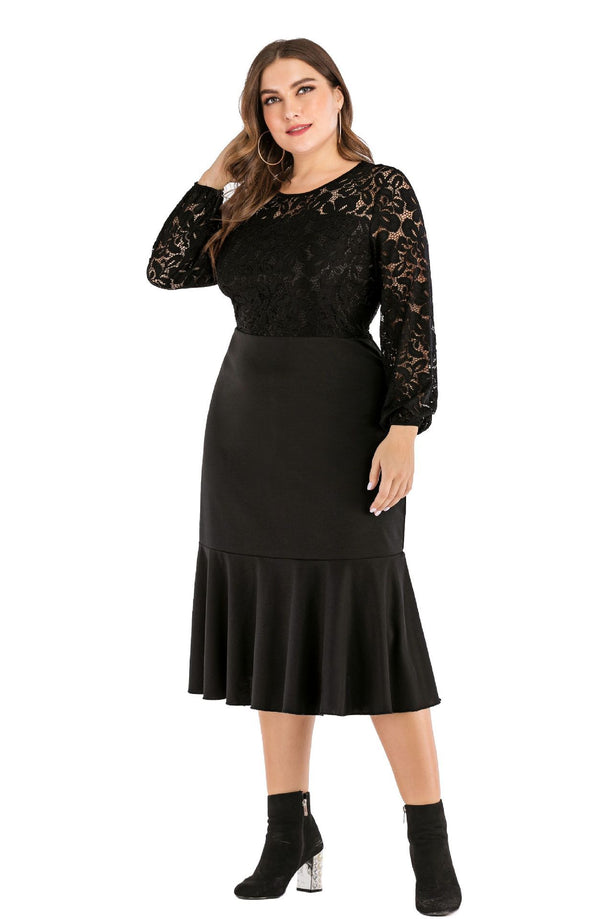 Elegant Lace Hollow Out Long Sleeve Ruffles Party Dress dress
