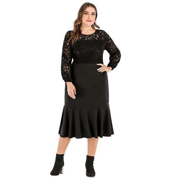 Elegant Lace Hollow Out Long Sleeve Ruffles Party Dress dress Black XL