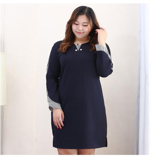 Elegant Navy Striped Patchwork Loose Dress Dress