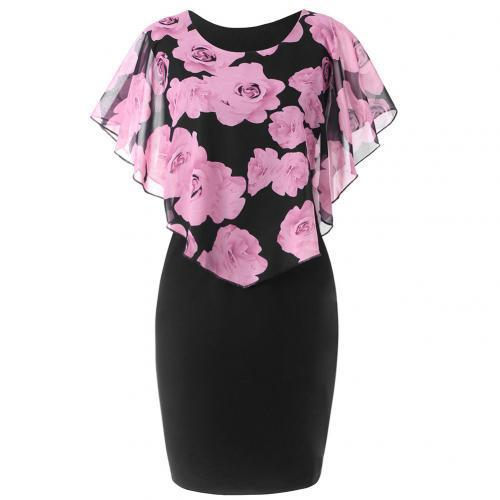 Elegant Office Floral Knee Length Dress dress Pink M
