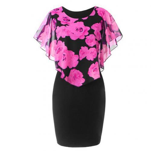 Elegant Office Floral Knee Length Dress dress Rose Red M